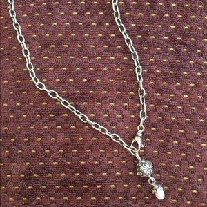 Sterling and pearl drop adjustable necklace